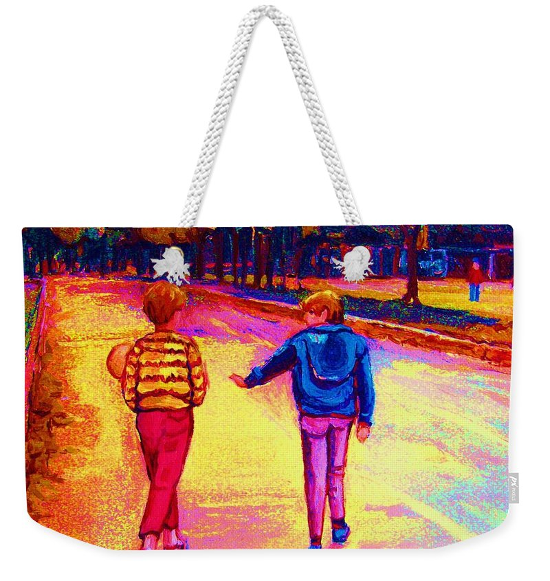 Children Weekender Tote Bag featuring the painting Lets Play Ball At Beaverlake Park by Carole Spandau