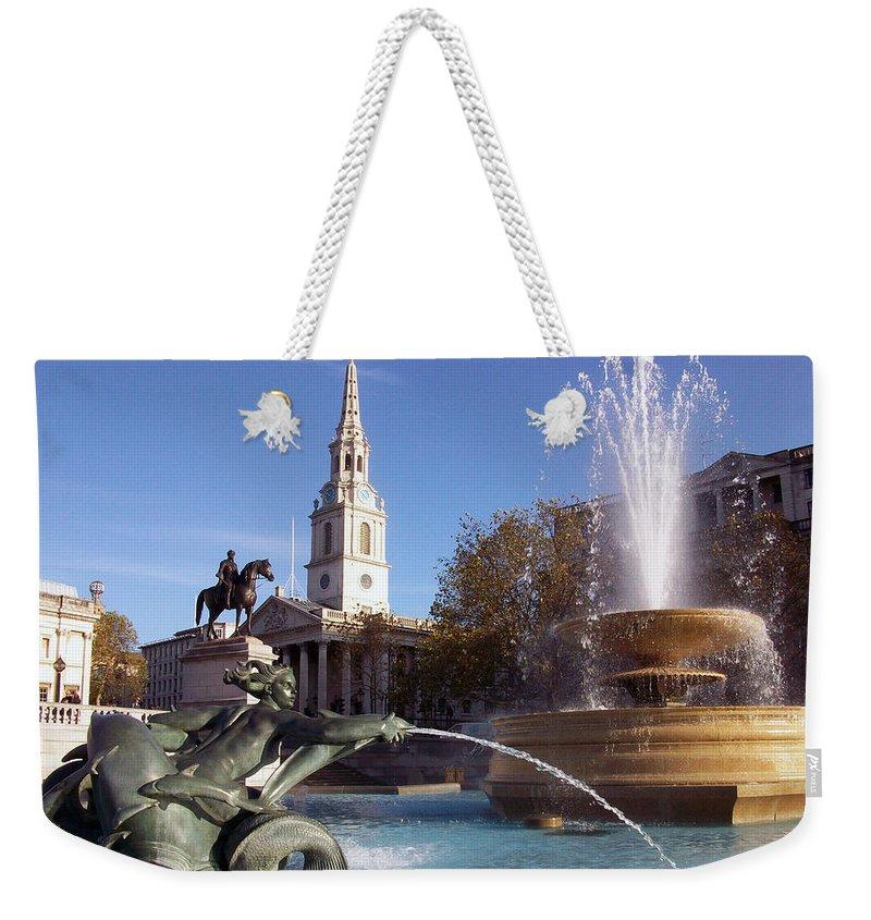 Trafalgar Square Weekender Tote Bag featuring the photograph London - Trafalgar Square by Munir Alawi