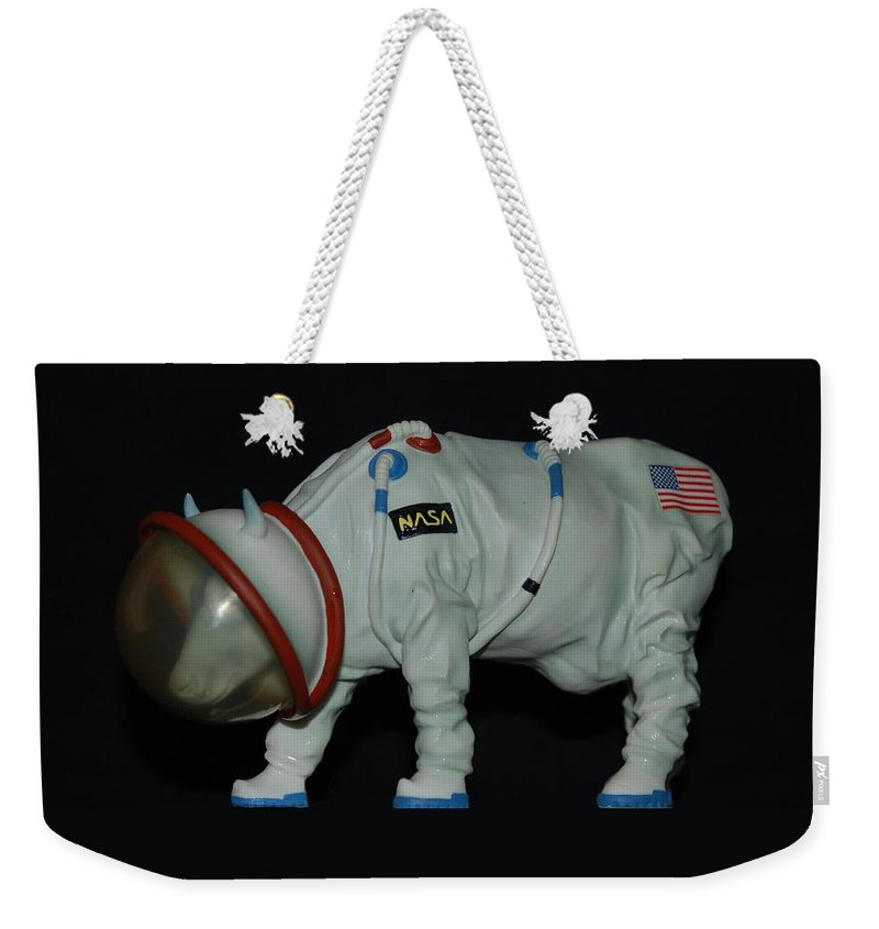 Astronauts Weekender Tote Bag featuring the photograph Maurice The Space Cow Boy by Rob Hans