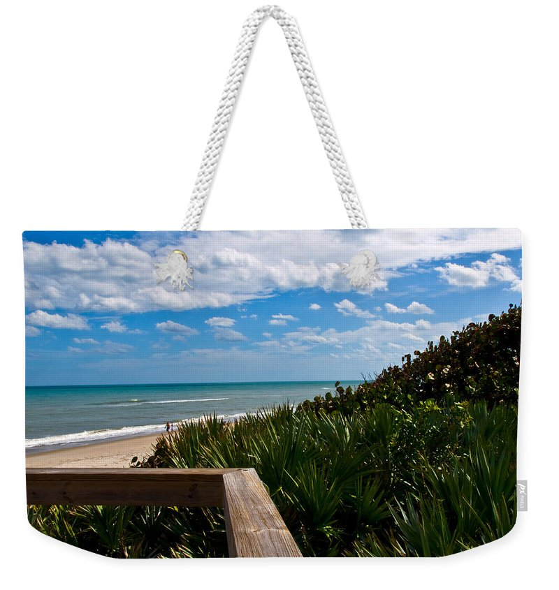 Beach; February; Florida; Warm; Warmth; Temperature; Degrees; Weather; Sun; Melbourne; Sand; Shore; Weekender Tote Bag featuring the photograph Melbourne Beach On The East Coast Of Florida by Allan Hughes