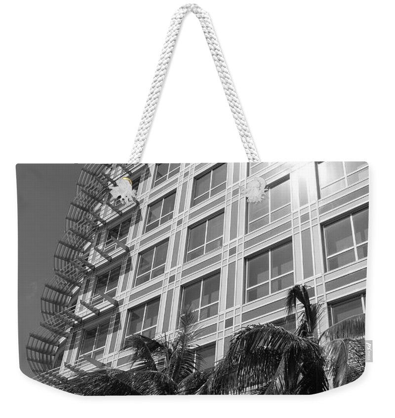 Black And White Weekender Tote Bag featuring the photograph Miami House by Rob Hans