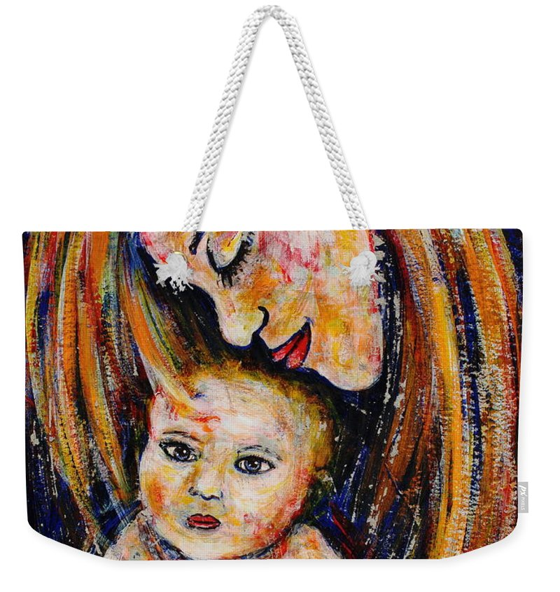 Expressionism Weekender Tote Bag featuring the painting Mother's Love by Natalie Holland
