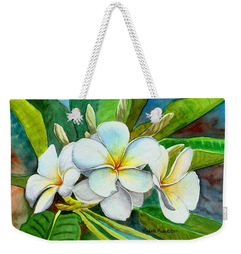 Plumeria Weekender Tote Bag featuring the painting My Favorite by Michele Ross