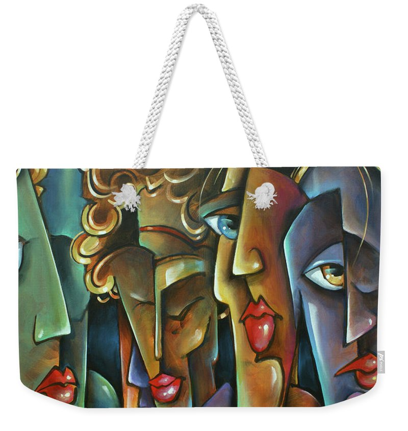 Figurative Weekender Tote Bag featuring the painting ' No Choices ' by Michael Lang