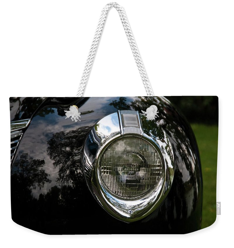 Antique Car Weekender Tote Bag featuring the photograph One Eye 13128 by Guy Whiteley