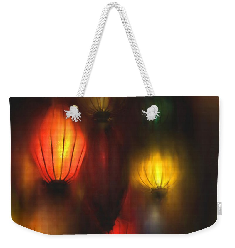 Lanterns Weekender Tote Bag featuring the painting Orange Lantern by Stephen Lucas