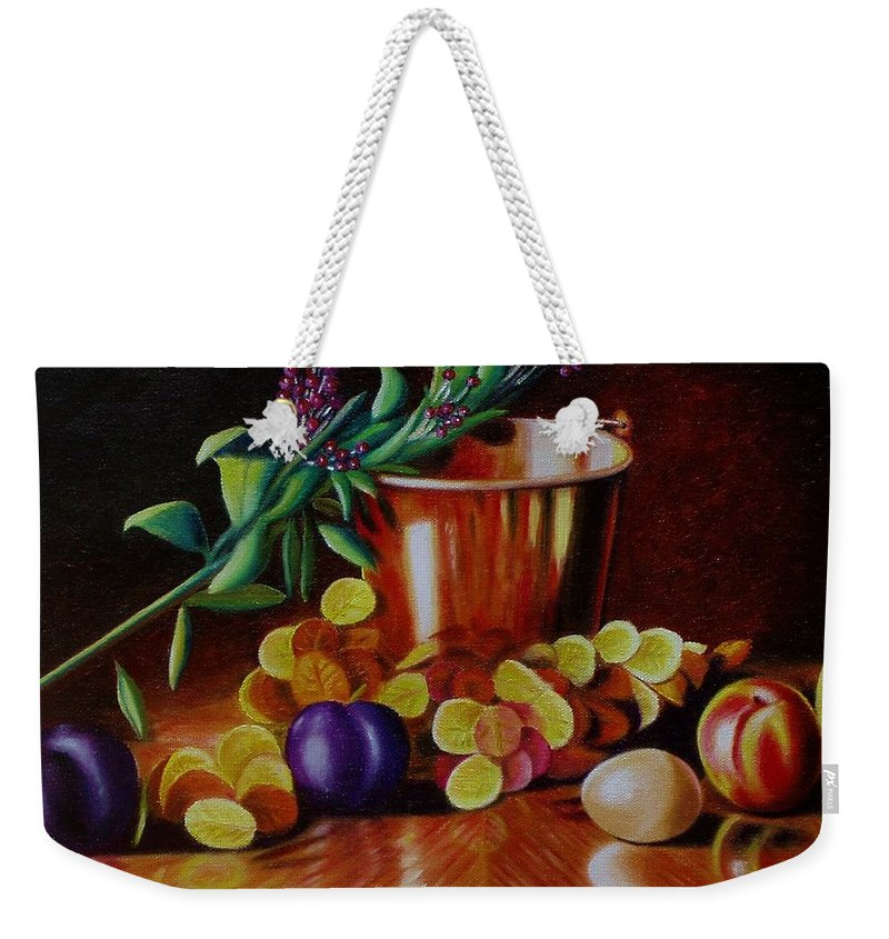 Still Life. Bucket Weekender Tote Bag featuring the painting Pail Of Plenty by Gene Gregory