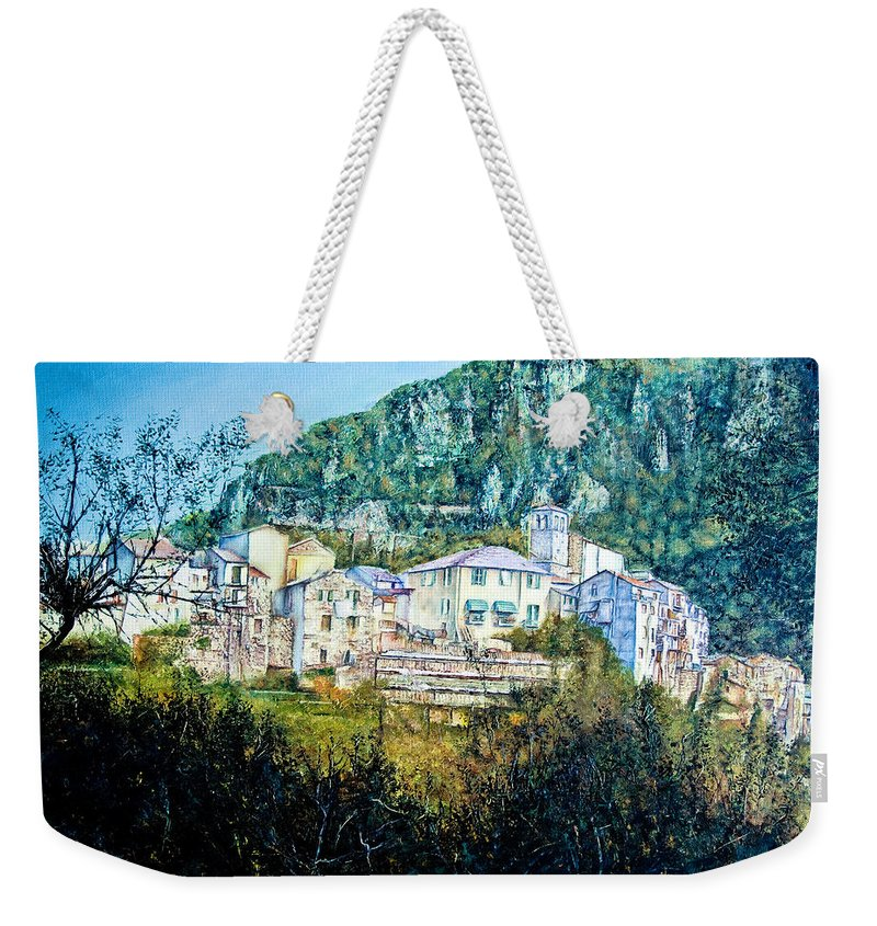 Landscapes Weekender Tote Bag featuring the painting Papigno Village by Michel Angelo Rossi