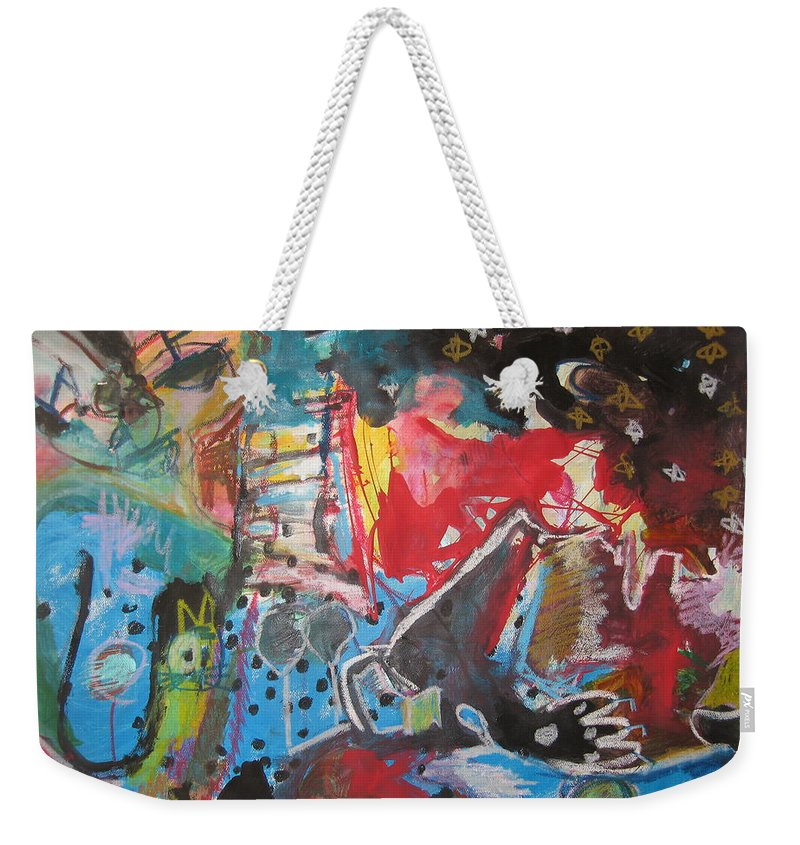 Original Weekender Tote Bag featuring the painting Patty's Harbour Original Abstract Colorful Landscape Painting For Sale Blue Green Red by Seon-Jeong Kim