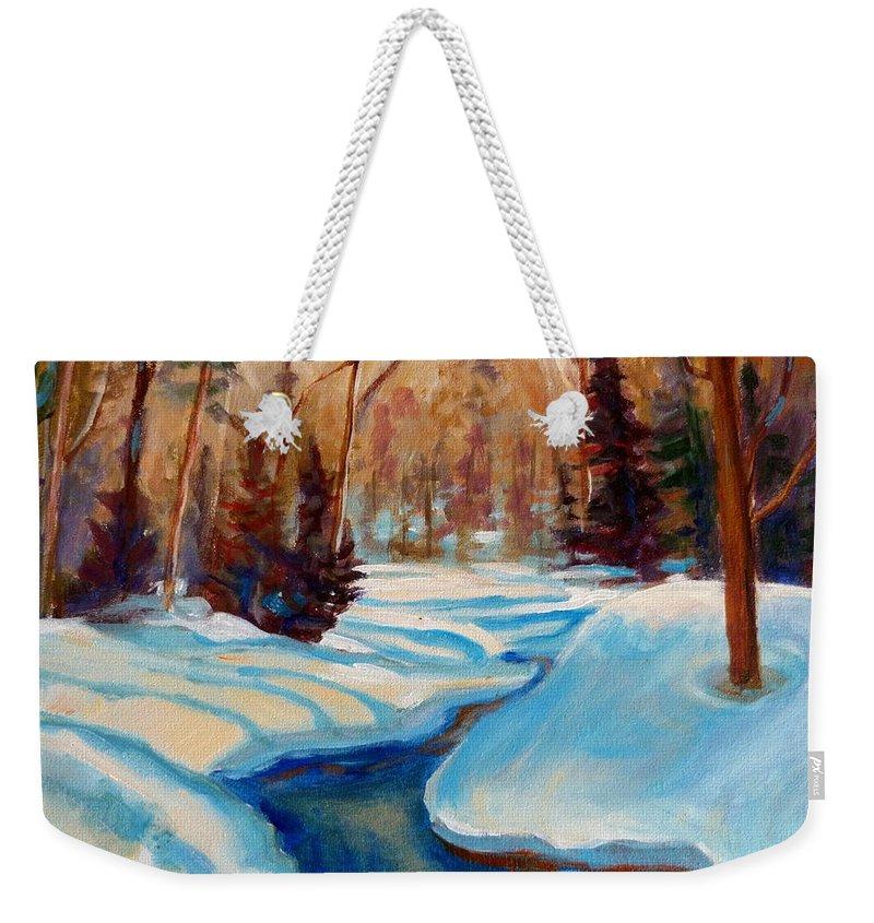 Peaceful Winding Stream Weekender Tote Bag featuring the painting Peaceful Winding Stream by Carole Spandau