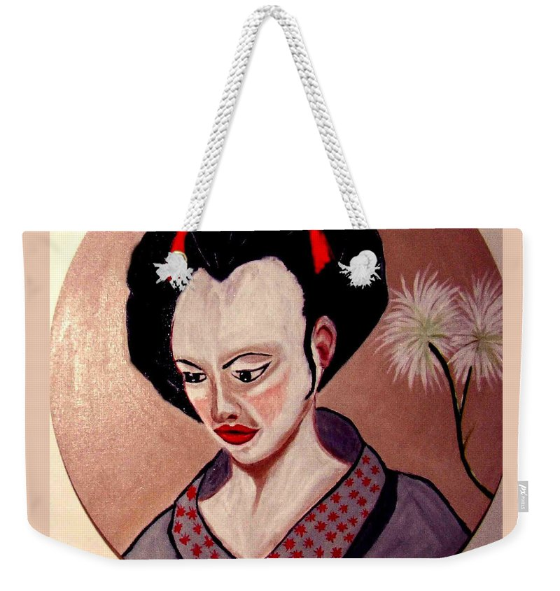 Japan Weekender Tote Bag featuring the painting Pensive Moment by Rusty Gladdish