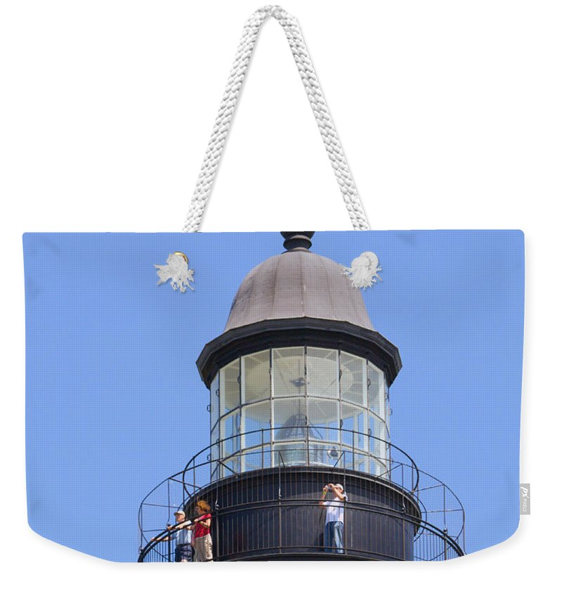 Ponce; De; Leon; Lighthouse; Light; House; Beacon; Navigation; Aid; Lens; Fresnel; Mosquito; Florida Weekender Tote Bag featuring the photograph Ponce De Leon Inlet Lighthouse by Allan Hughes