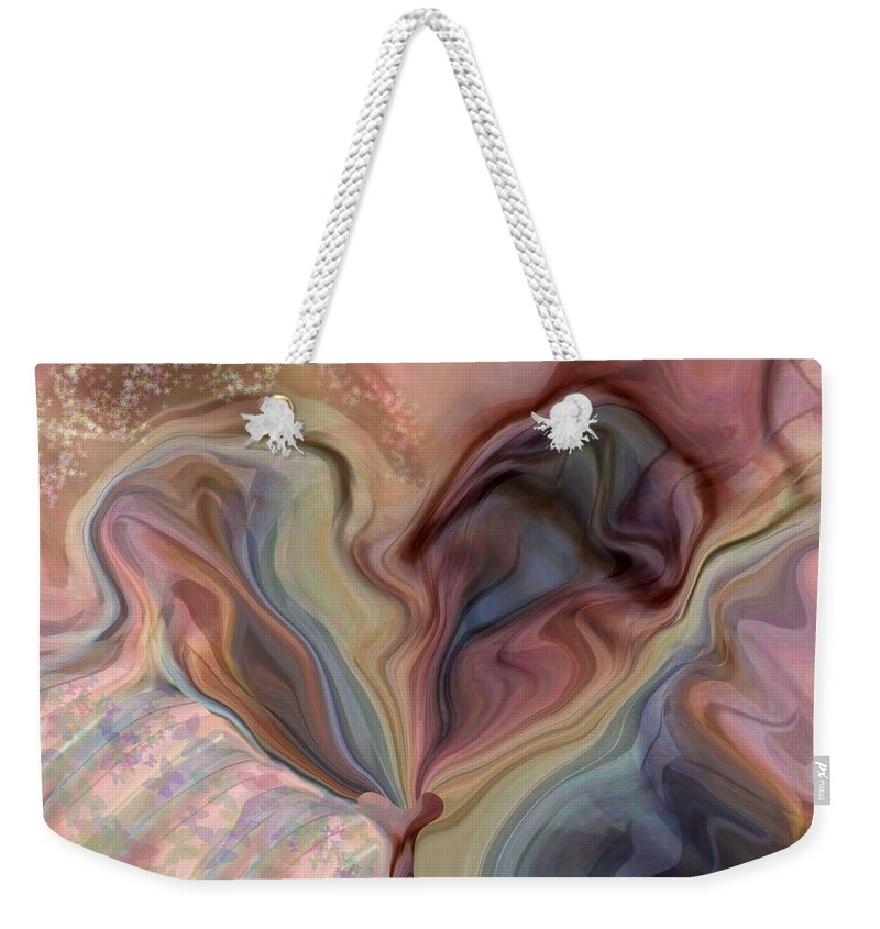Hearts Weekender Tote Bag featuring the digital art Psychedelic Heart by Linda Sannuti