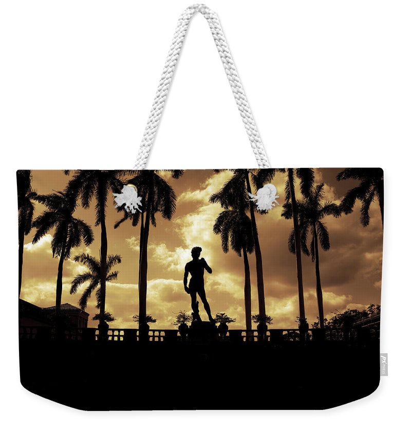 Michelangelo Weekender Tote Bag featuring the photograph Replica Of The Michelangelo Statue At Ringling Museum Sarasota Florida by Mal Bray