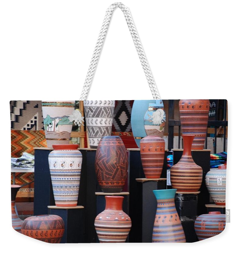 Southwestern Weekender Tote Bag featuring the photograph S W Potery by Rob Hans