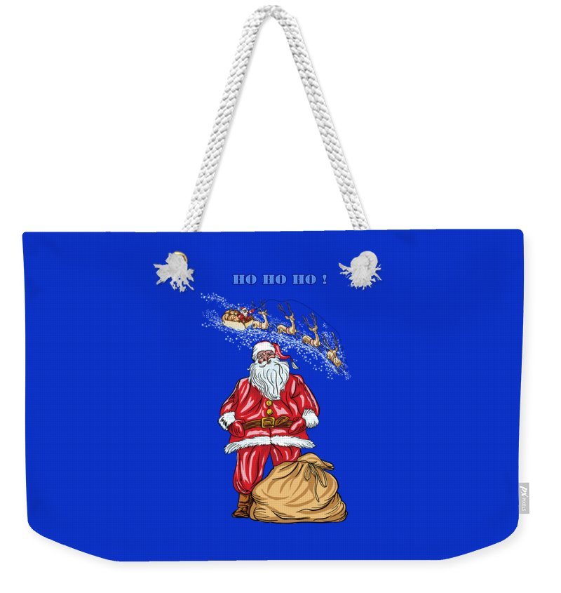 Merry Christmas Weekender Tote Bag featuring the painting Santa Claus by Andrzej Szczerski
