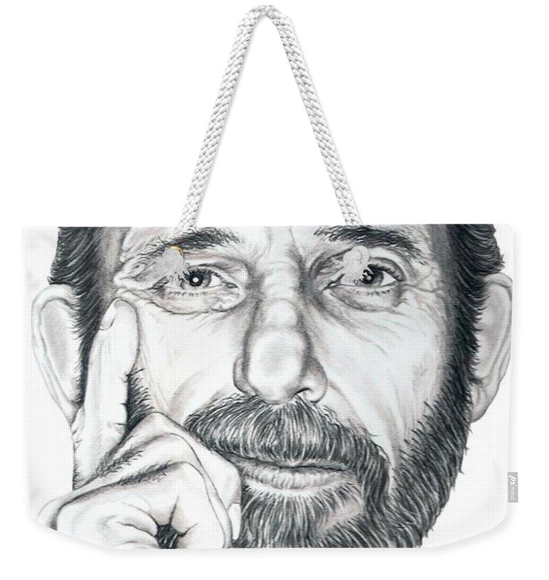 Pencil Weekender Tote Bag featuring the drawing Self portrait by Murphy Elliott