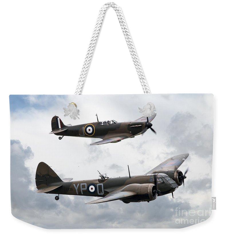 Bristol Weekender Tote Bag featuring the digital art Spitfire And Blenheim by J Biggadike
