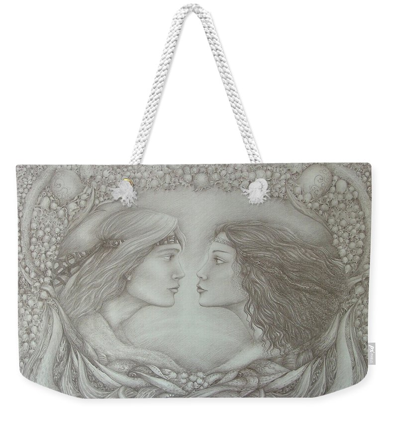 Love Weekender Tote Bag featuring the drawing Spring Lovers With Snowdrops by Rita Fetisov