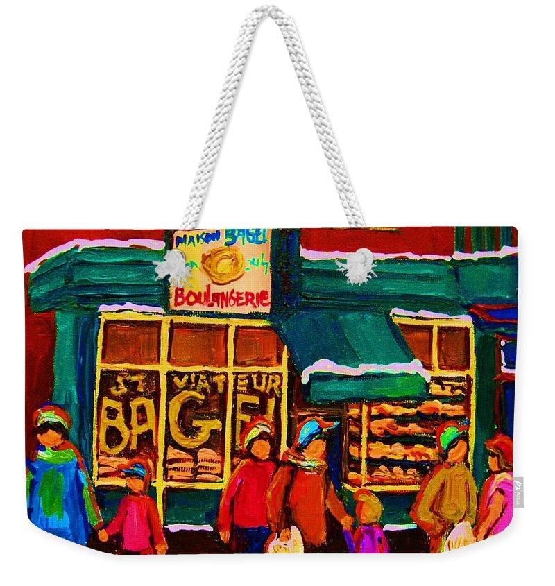 St. Viateur Bagel Weekender Tote Bag featuring the painting St. Viateur Bagel Family Bakery by Carole Spandau