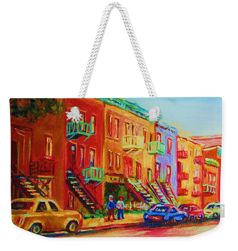 Painted Houses Weekender Tote Bag featuring the painting Summer In The City by Carole Spandau