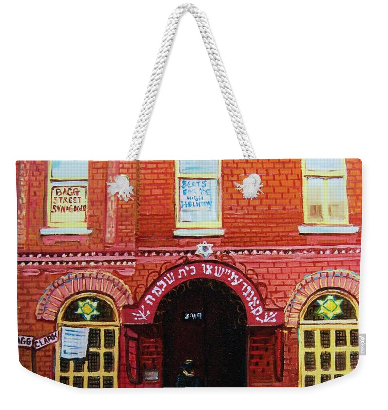 Synagogues Weekender Tote Bag featuring the painting Temple Solomon Congregation by Carole Spandau