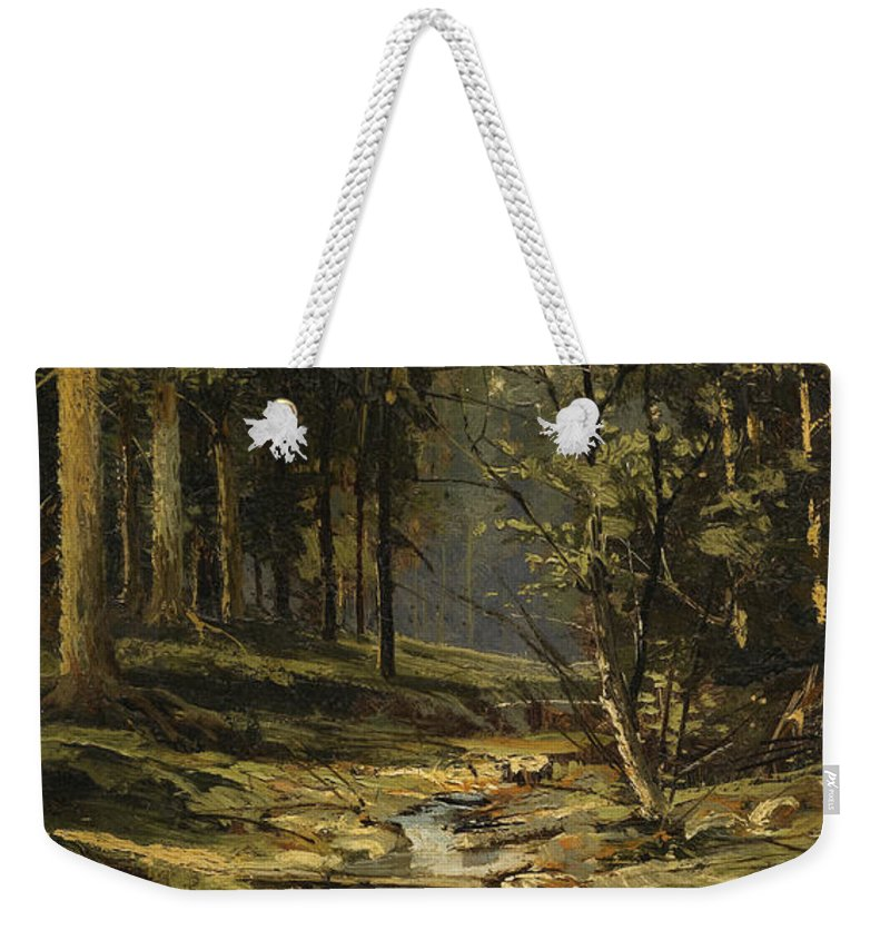 Ivan Shishkin Weekender Tote Bag featuring the painting The Forest Brook by Ivan Shishkin