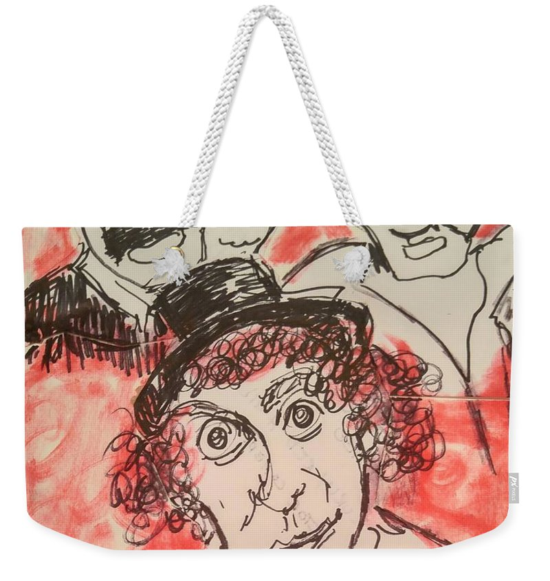 Comedy Weekender Tote Bag featuring the painting The Marx Brothers by Geraldine Myszenski
