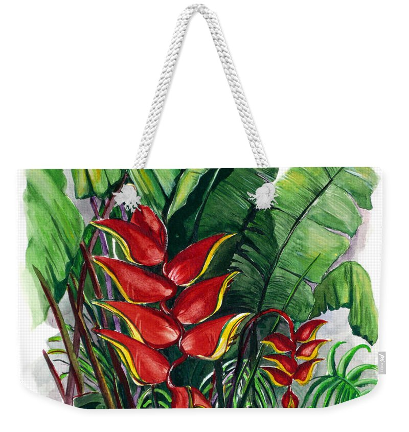 Heliconia Painting Rainforest Painting Musa Painting Botanical Painting Flower Painting Floral Painting Greeting Card Painting Tropical Painting Caribbean Painting Island Painting Red Painting Weekender Tote Bag featuring the painting Tiger Claw .. Heliconia by Karin Dawn Kelshall- Best