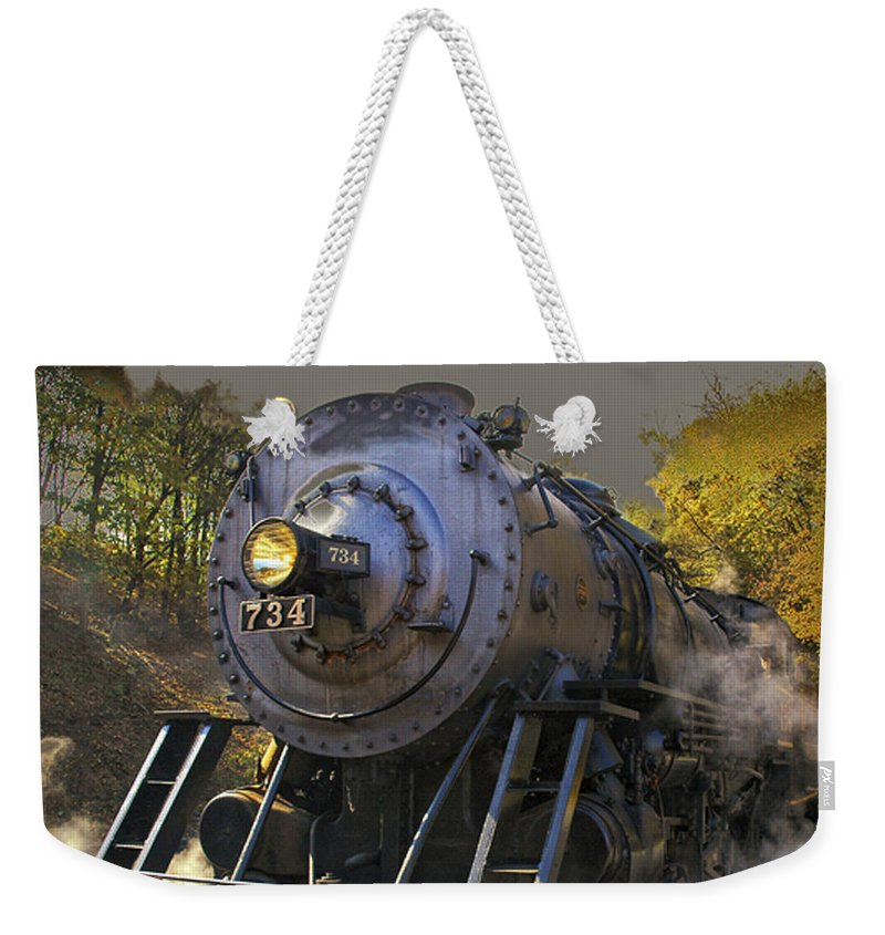 Train Weekender Tote Bag featuring the photograph Train Engine No. 734 by Timothy Flanigan and Debbie Flanigan Nature Exposure