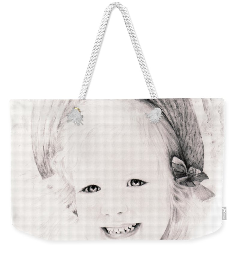 Portrait Weekender Tote Bag featuring the drawing  Trudy by Rachel Christine Nowicki