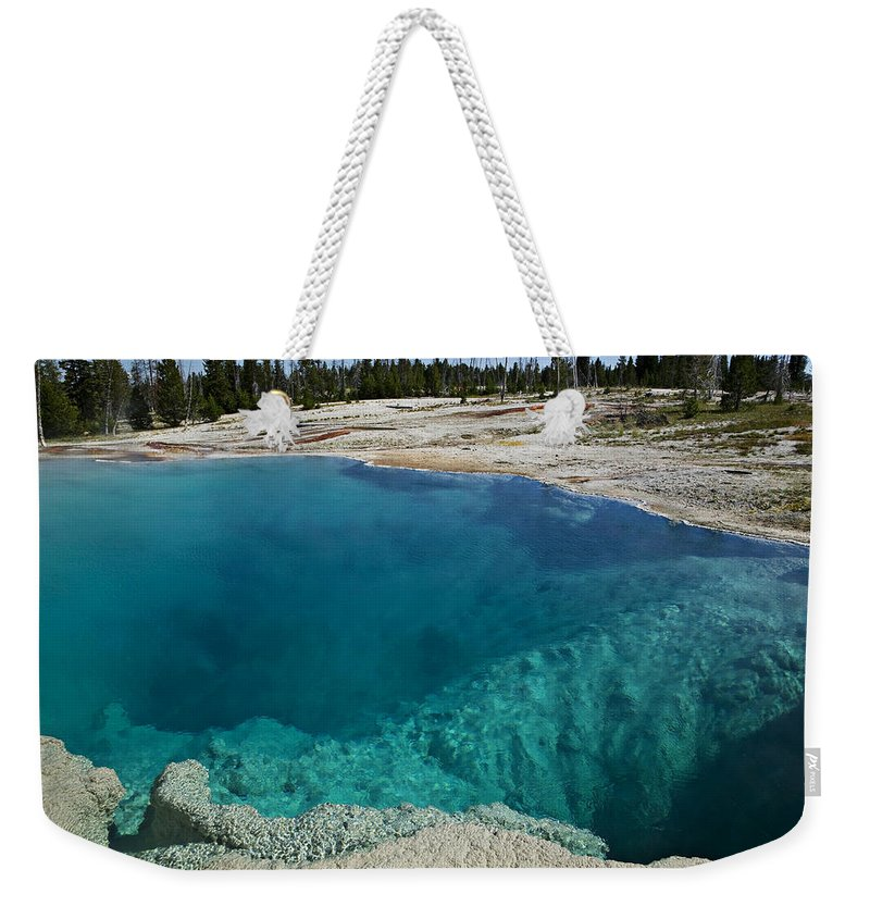 Hot Weekender Tote Bag featuring the photograph  Turquoise Hot Springs Yellowstone by Garry Gay