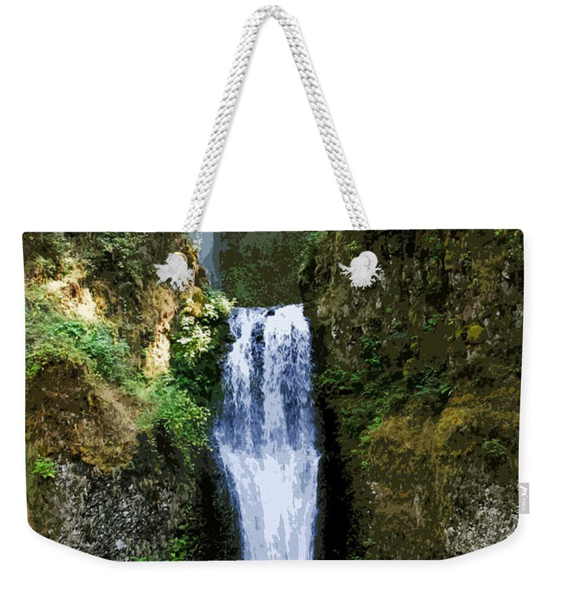 Water Falls Weekender Tote Bag featuring the painting Two Falls by David Lee Thompson