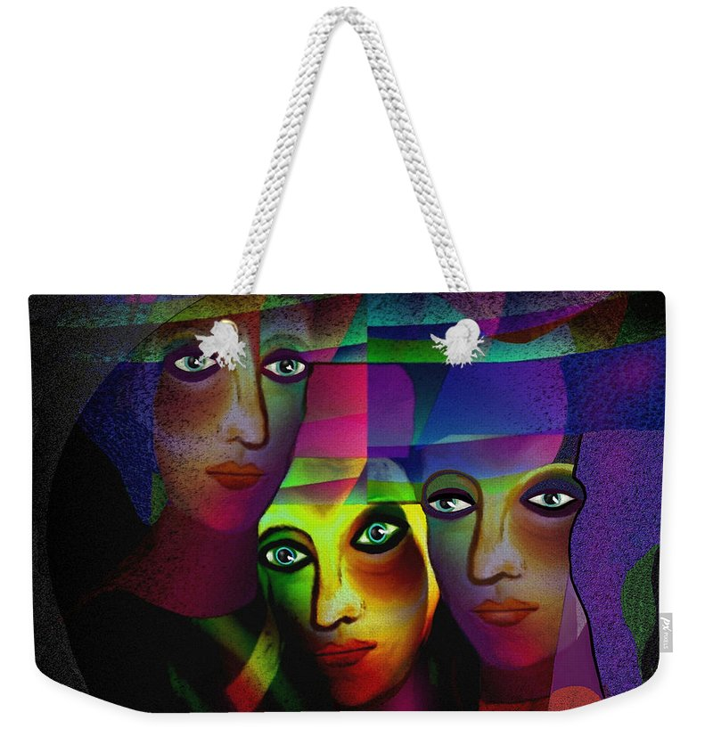 008  Sisters In Pride A Weekender Tote Bag featuring the painting 008  Sisters In Pride A by Irmgard Schoendorf Welch