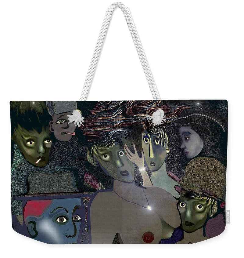 015 Berlin The 1920s Weekender Tote Bag featuring the painting 015 - Berlin The 1920s - The Shining by Irmgard Schoendorf Welch