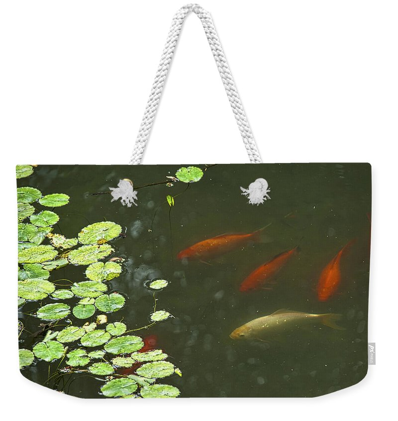 Asia Weekender Tote Bag featuring the photograph 0158- Koi by David Lange