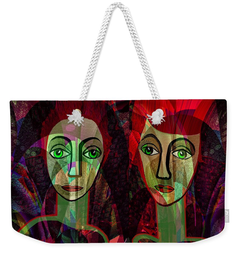 Woman Weekender Tote Bag featuring the painting 039  Two Pensive Women A by Irmgard Schoendorf Welch