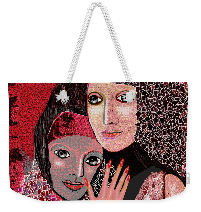 047  To Lean On V  Stretched Canvas Print Weekender Tote Bag featuring the painting 047 Friendship - To Lean On V by Irmgard Schoendorf Welch