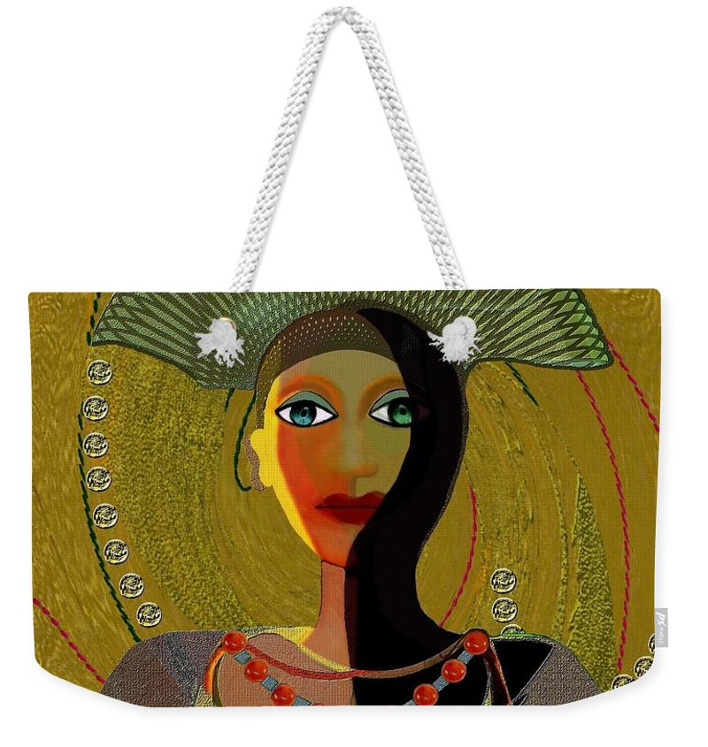Lovely Weekender Tote Bag featuring the painting 052 -  Nana Golden by Irmgard Schoendorf Welch
