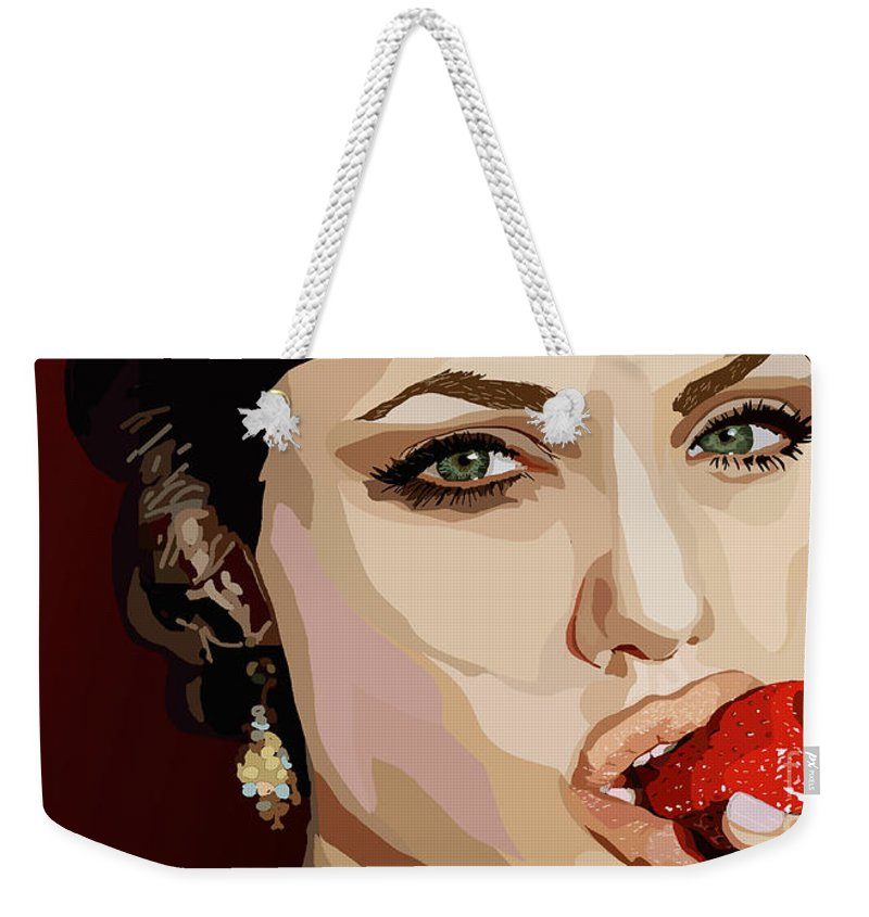 Tamify Weekender Tote Bag featuring the painting 053. Never Send A Boy To Do A Woman's Job by Tam Hazlewood