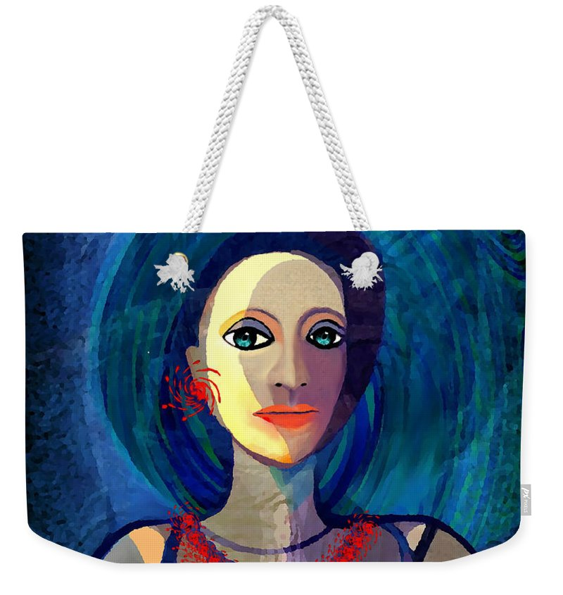 066 Woman With Red Necklace Av Weekender Tote Bag featuring the painting 066 Woman With Red Necklace Av by Irmgard Schoendorf Welch