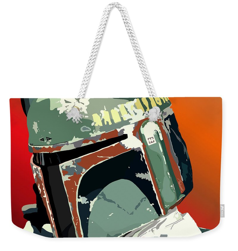 Bobba Fett Weekender Tote Bag featuring the painting 067. He's No Good To Me Dead by Tam Hazlewood