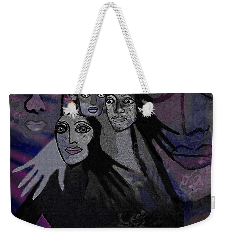 071 The People Of  Night A Weekender Tote Bag featuring the digital art 071  The People Of  Night A by Irmgard Schoendorf Welch