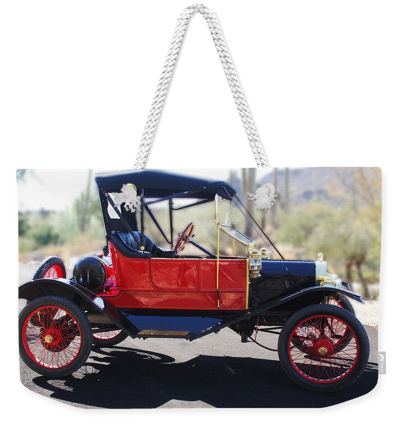 Horseless Carriage Weekender Tote Bag featuring the photograph 1911 Ford Model T Torpedo by Jill Reger