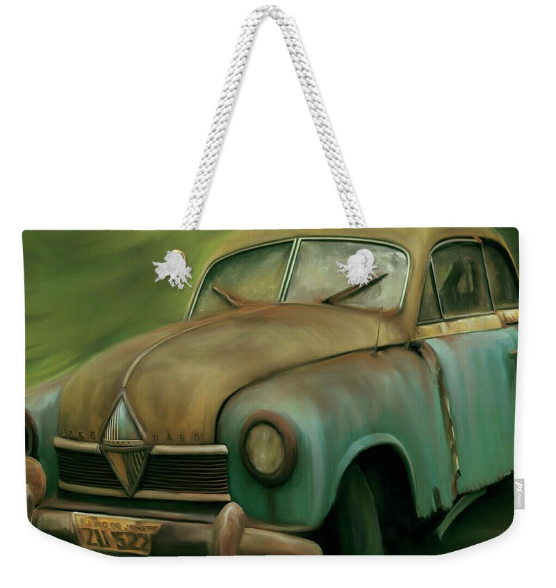 1950's Weekender Tote Bag featuring the digital art 1950's Vintage Borgward Hansa Sports Coupe Car by Arlene Price