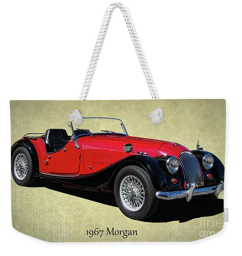 1967 Weekender Tote Bag featuring the photograph 1967 Morgan Classic Sports Car by Nick Gray