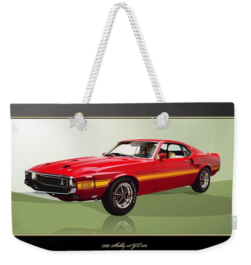 Wheels Of Fortune By Serge Averbukh Weekender Tote Bag featuring the photograph 1969 Shelby v8 GT350 by Serge Averbukh