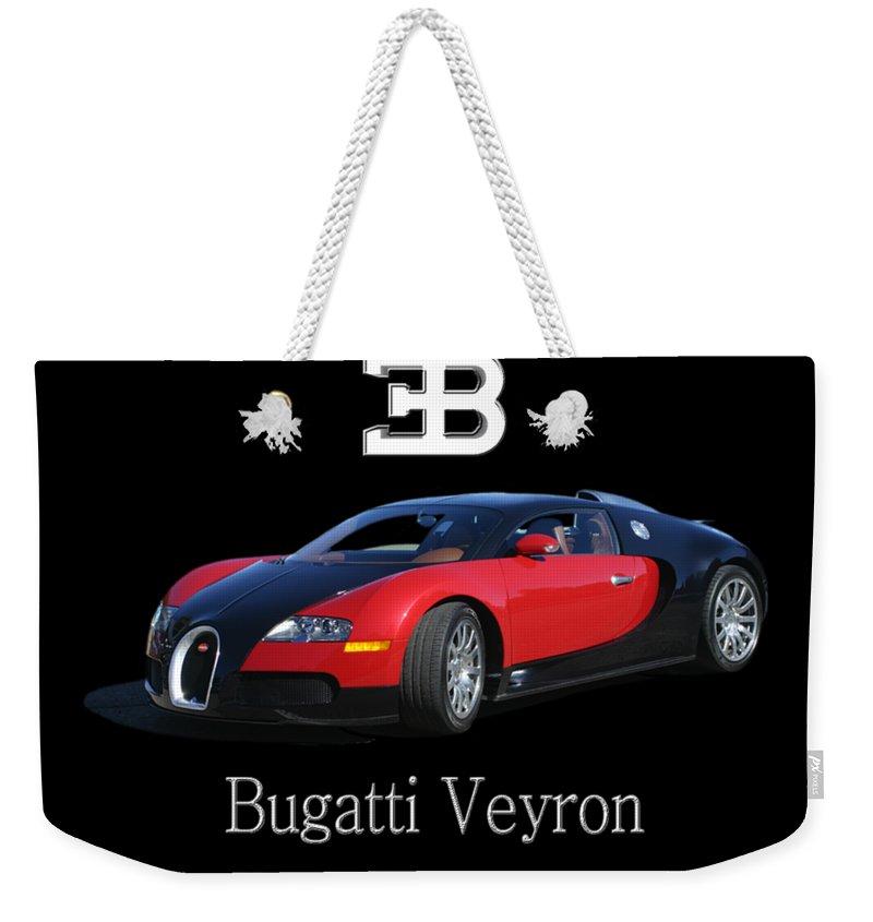 Tee Shirt Photo Art Of A 2010 Bugatti-veyron Weekender Tote Bag featuring the painting 2010 Bugatti Veyron by Jack Pumphrey