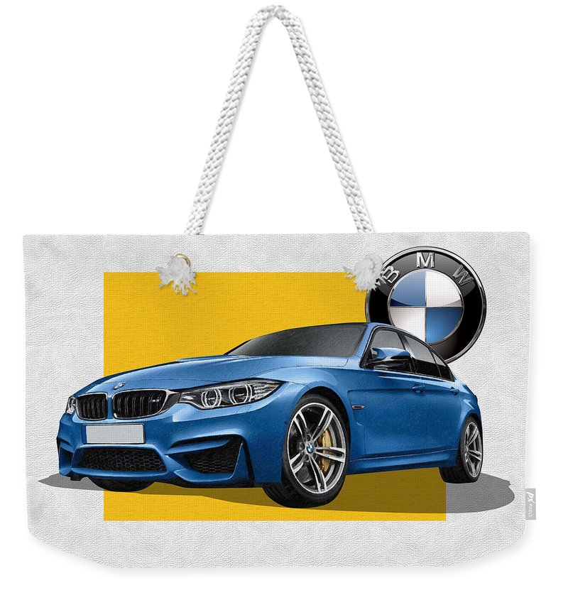 �bmw� Collection By Serge Averbukh Weekender Tote Bag featuring the photograph 2016 B M W M 3 Sedan with 3 D Badge by Serge Averbukh