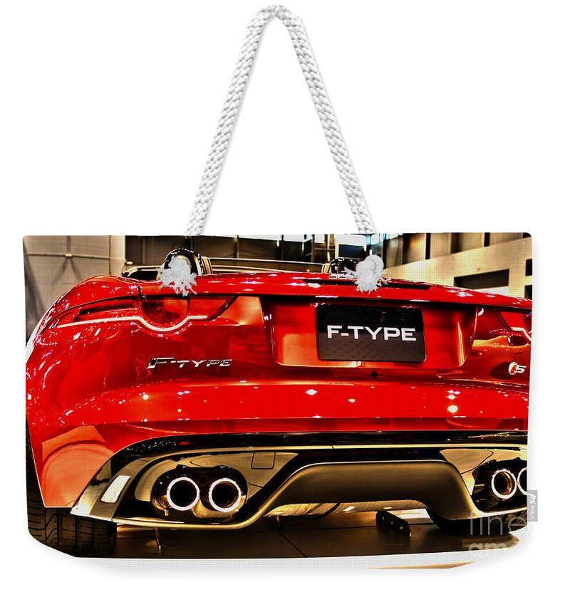 Auto Weekender Tote Bag featuring the photograph 2016 Jaguar F-type by Alan Look